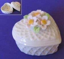 Lattice Porcelain Flower Decorated Heart Ring Earring Trinket Pot