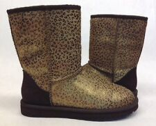 UGG AUSTRALIA WOMEN'S CLASSIC SHORT CALF HAIR LEOPARD METALLIC BOOT 1005329 $225
