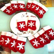 Snowflake Christmas Stockings Socks Cutlery Holders or Tree Decorations