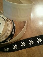 "Vintage Black Daisy Trim Ribbon 34"" x 1"" Sewing Scrap Art Collage Doll"