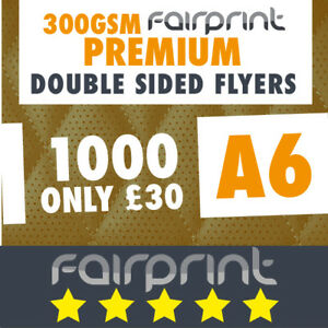 1000 A6 Flyers Leaflets Printed 300gsm Gloss