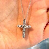 1.25 TCW Diamond Cross Pendant 100% Natural G/ VS2 14k Solid White  Gold