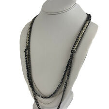 Ann Taylor Loft Mixed MetalChain Crystal Multichain Necklace Long Silver