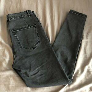 Zara High Rise Women Super Stretch Jeans Anthracite Gray Size 8