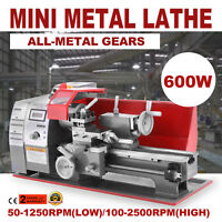 600W Mini Metal Turning Lathe Woodworking Tool Bench Top DIY Processing Drilling