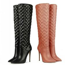 5 Colors Ladies Knee High Boots Pointy Toe 45 46 47 Stilettos Heel Shoes Club L