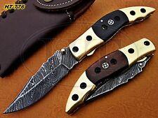 Custom Handmade Damascus Folding Knife with Brass Bolster and Micarta Handle
