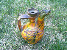 RARE! Primitive Antique ceramic bowl pitcher for Wine and brandy 19th century