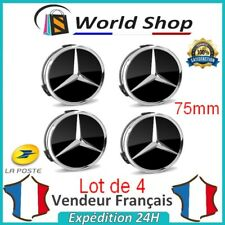 4 Centre de Roue Mercedes noir mat 75mm logo emblème étoile cache moyeu
