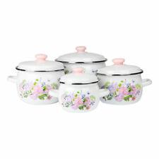 8 Pc Enamel Cookware Set Casserole Pots Lid Soup Stockpot Flowers White Pan Pink