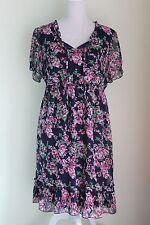 GARDEN ROMANTIC Dress Navy Pink Elasticated Waist EU 42/44 Lined  (113)