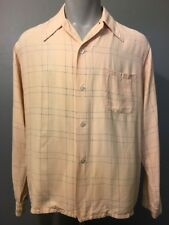 Vtg Rayon Shirt 30s 40s 50s Pointy Collar Mens ML Swing Rockabilly Cream Blue LS