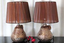 2 Lampen bronze braun Nachttischlampe Leuchte Keramik Tischlampe Tischleuchte 28