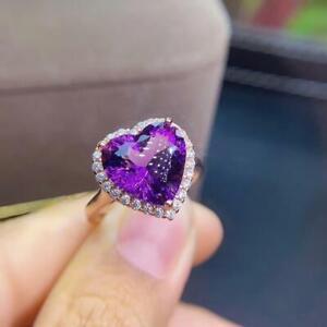 4Ct Heart Cut Purple Amethyst Diamond Halo Engagement Ring 14K Rose Gold Finish