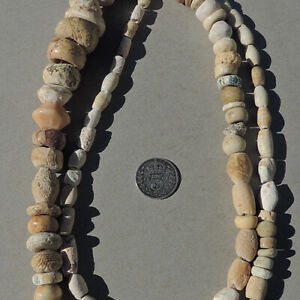 29 inch strand ancient neolithic shell beads mali niger sub saharan africa #125