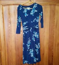 New monsoon size 8 blue stretchy dress yellow and blue  winter jersey material