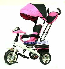 New 4 in 1 Trike Kid Tricycle for Toddler Adjustable Seat Stroller Ride On PINK