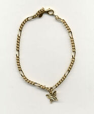 "14KT GOLD EP 9 1/2"" 2.75MM FIGARO ANKLET W/BUTTERFLY"