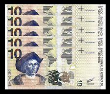 El Salvador 10 Colones 2-3-1998 * Unc 5 Pcs Consecutive Lot * P.148 C.Columbus
