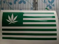 Pot Leaf flag Cannabis Vinyl Decal Sticker 420 Marijuana Weed 5""