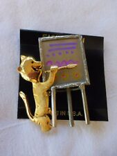 Vtg Ultracraft Pewter Brass Cat Painting Artist Pin USA Signed