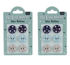 Estrella De Bebé De Madera Pintada Botones 19mm 2 Packs - 12 Botones Azul Marino Azul Pálido Beige