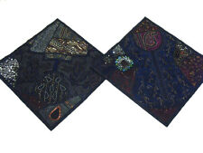 Black Embellished Handmade Pillowcases Elegant Stylish Vintage Sari Sofa Cushion