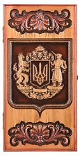 HANDMADE WOODEN BACKGAMMON BOARD GAME SET CARVED COAT OF ARMS OF ARMENIA ASHTREE