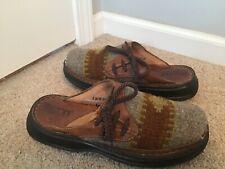BORN Grey Wool Aztec Indian Blanket Slip On Mule Clogs Leather SZ  8 Womens Shoe