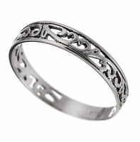 Ladies / Girls 925 Sterling Silver Filigree Band Ring  (Sizes G - T)