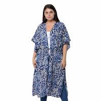 Black Blue Leopard Pattern Long Shape Waistband Loose Kimono Cardigan Polyester