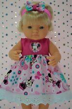 Dolls Clothes For 38cm Miniland Doll PLAIN/PATTERN DRESS~HEADBAND