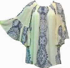 Nwt SACRED THREADS blue ivory bell sleeve crinckled rayon TOP TUNIC L Free shipp