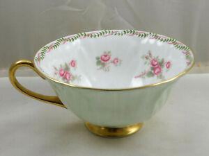 Vintage Shelley China Lignt Green Pink Floral Oleander Tea Cup 135335