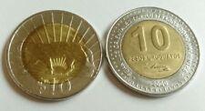 Uruguay 10 Pesos (Puma) 2011 & URUGUAY, 10 Pesos 2000 José Artigas Two UNC Coin