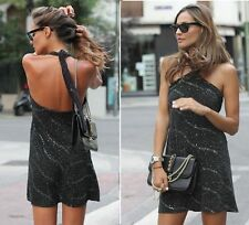 ZARA NEW BLACK SHORT HALTER NECK SHINNY DRESS SIZE M