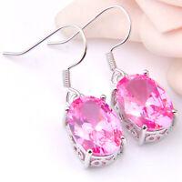 New Coming Pink Topaz/Green Amethyst Prasiolite Gems Silver Hook Earrings