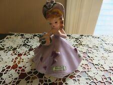 Vintage Josef Originals February Birthday Girl Figurine Purple Hearts & Flowers