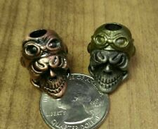 2X Aces High Pilot 1 Copper enamel 1 Gold Helmet Paracord Skull Knife Bead