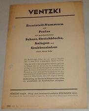 Teilekatalog Ventzki Schare / Streichbleche / Anlagen/ Grubberzinken von 10/1955