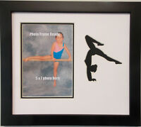 Gymnast 9x11 Photo Picture Frame for 5x7 Photo (Wall Hanging) Black wood frame