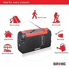 Duronic Hybrid Radio Wind Up Solar and Rechargeable AM/FM Radio with USB Charger