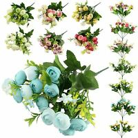 15 Head Small Ranunculus Bouquet - Artificial Silk Flowers Bunch with Leaves