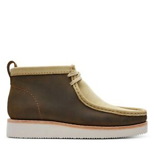 NEW MEN CLARKS WALLABEE HIKE BEESWAX COMBI BROWN LEATHER SAND SUEDE LACE SHOES