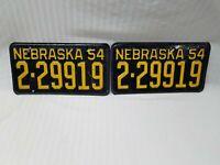 Vintage 1954 Nebraska License Plate ~ Matched Set Of Plates