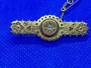 Rare 15 Carat Gold Victorian Etruscan Style Brooch with Diamond 3.86 grams 1890