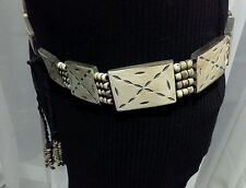 VINTAGE RETRO BLACK & CREAM LEATHER PANEL BEADED HIPSTER BELT SIZE AU  10 - 12