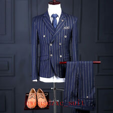 Men Classic 3 Pcs Groom Suit Check Tan Tuxedos Blue strip Vintage Wedding Suit