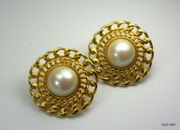 Vintage Marvella Earrings Clips  Gold Chain Pearl Marvella Jewelry Sagaofluck