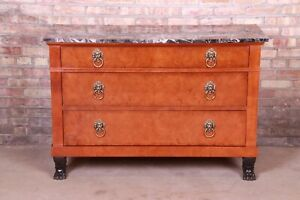 Baker Furniture Neoclassical Burl Wood Marble Top Commode or Chest of Drawers